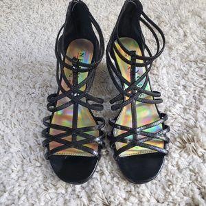 New York Transit black patent leather wedge heels